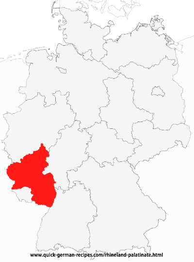 Map showing Rhineland-Palatinate as part of Germany
