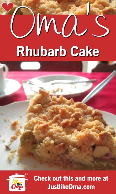 ❤️ Oma's Rhubarb Cake with Streusel is so quick & easy to make.  https://www.quick-german-recipes.com/rhubarb-cake.html #rhubarbcake #germanrecipe #justlikeoma