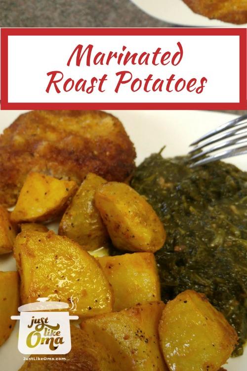 Marinating roast potatoes