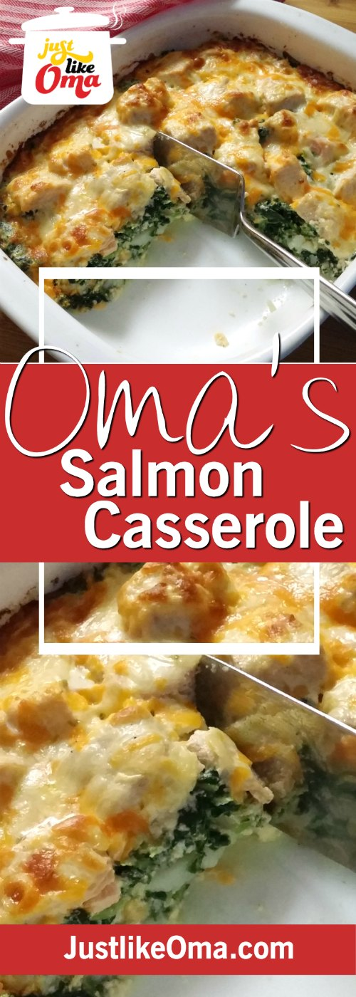 Weekday Salmon Casserole -- fit for company! With spinach and cheese and, of course, cream. Soooo German! ❤️ https://www.quick-german-recipes.com/salmon-casserole.html