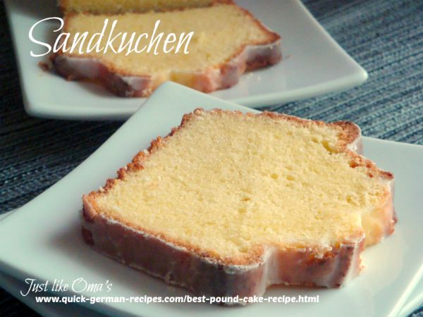 A piece of German Pound Cake iced with a plain white icing served on a square cake plate