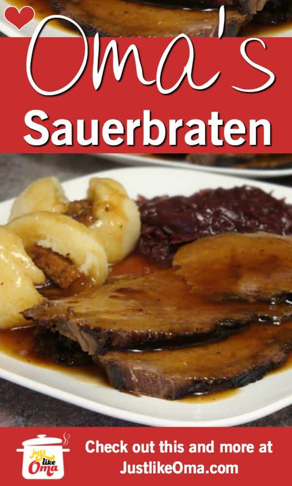 ❤️ Sauerbraten, made in a slow cooker, makes this a traditional German meal.  https://www.quick-german-recipes.com/sauerbraten-recipe.html #sauerbraten #beefrecipe #germanrecipes #justlikeoma