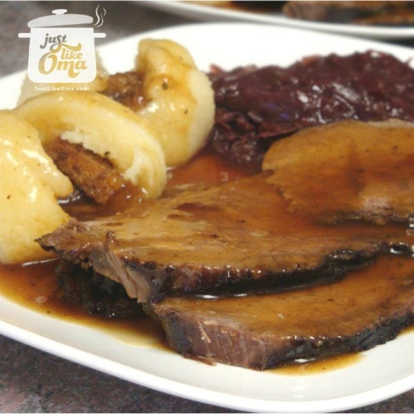 ❤️ Sauerbraten, made in a slow cooker, makes this a traditional German meal.  #sauerbraten #beefrecipe #germanrecipes #justlikeoma https://www.quick-german-recipes.com/sauerbraten-recipe.html