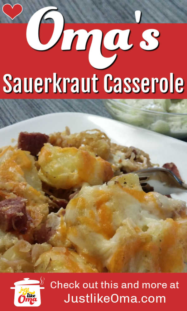 ❤️German Sauerkraut Casserole ... perfect for using up leftovers ... check out https://www.quick-german-recipes.com/german-sauerkraut.html #sauerkraut #germanrecipe #justlikeoma