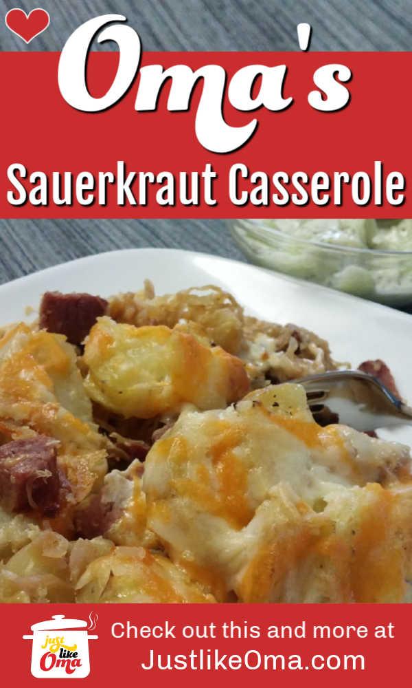 Scrumptious German Sauerkraut Casserole ... perfect for using up leftovers
