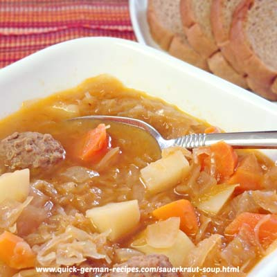 German Food Recipe: Sauerkraut Soup