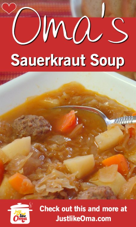 ❤️ Sauerkraut Soup! What can be more German than that?  https://www.quick-german-recipes.com/sauerkraut-soup-recipe.html #sauerkraut #germanrecipe #justlikeoma