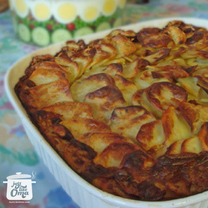Casserole of German Scalloped Potatoes with a layered salad
