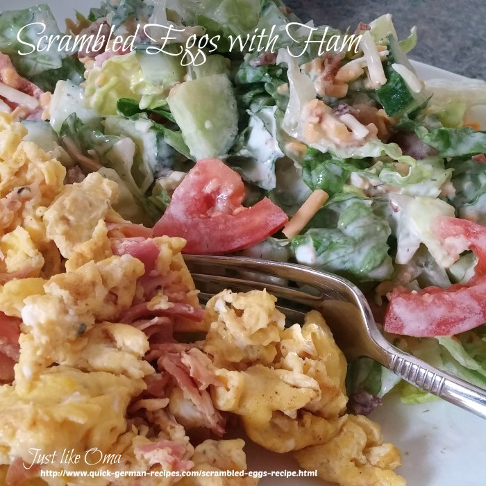 Scrambled Eggs with Ham served with a mixed salad and a wonderful Sour Cream Dressing.