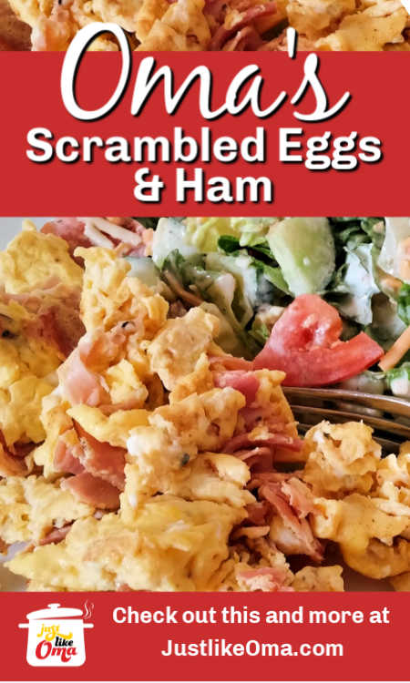 ❤️ Creamy and fluffy scrambled eggs are so versatile for breakfast, lunch, and supper. Here, I'm added ham and served with a salad.