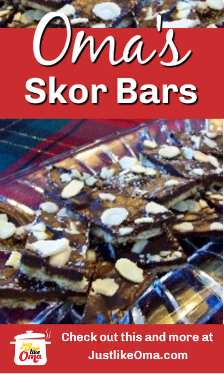 ❤️Skor Bar Cookies (Chocolate Toffee Bark) is a quick and easy dessert treat to make that fits right on a mixed German dessert platter.
