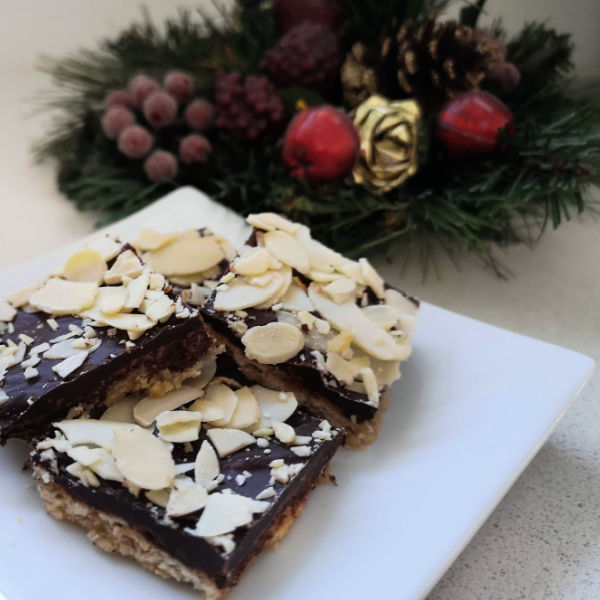 Skor Bar Cookies (Chocolate Toffee Bark) are a quick and easy dessert treat to make that fits right on a mixed German dessert platter.
