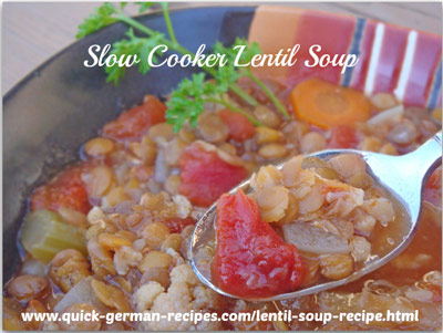Lentil Soup - using a slow cooker