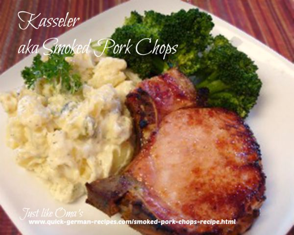 Kasseler with easy German potato salad and steamed broccoli