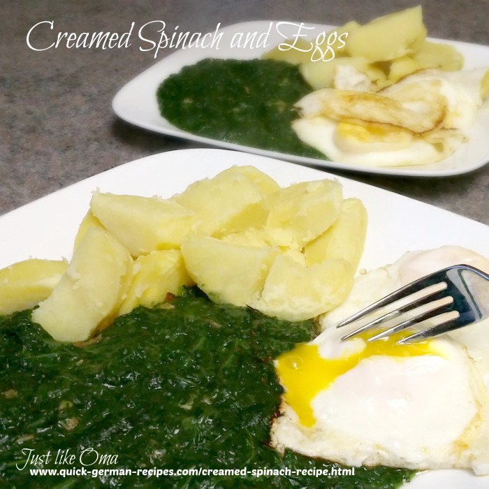 creamed spinach and fried eggs