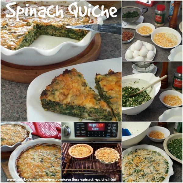 Oma's crustless spinach quiche is such an easy dish to prepare and pop in the oven