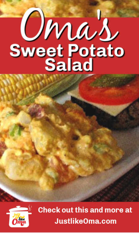 Regular and sweet potatoes grace this delicious potato salad, made just like Oma. Such a refreshing treat!