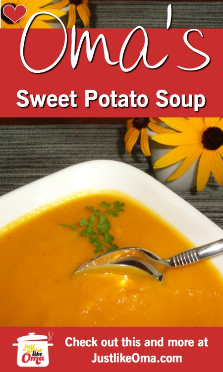 ❤️ Awesome Sweet Potato Soup ... perfect for vegetarians, vegans, and everyone else! https://www.quick-german-recipes.com/sweet-potato-soup-recipe.html #germanrecipe #justlikeoma