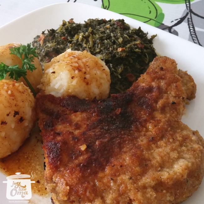 Thüringer Klösse with breaded pork chops and kale