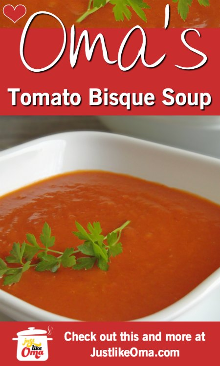 ❤️ Tomato Bisque is a such delicious soup. Try it today, even if you're not vegetarian!   https://www.quick-german-recipes.com/tomato-bisque-soup.html #germanrecipe #justlikeoma #tomatosoup #vegan
