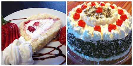 German Food Recipes: cream roll and black forest cake