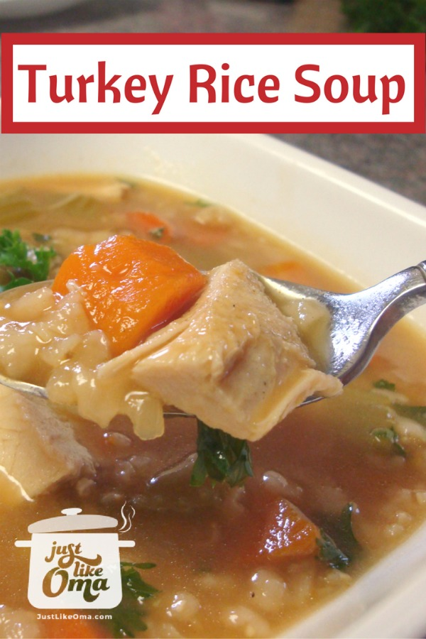 Easy Turkey Rice or Barley Soup made from your leftover turkey carcass ❤️ #justlikeoma #germanrecipes #soup #turkeysoup https://www.quick-german-recipes.com/turkey-rice-soup-recipe.html