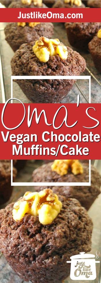Vegan chocolate cake recipe (reminiscent of my German marble cake) & turned them into chocolate brownie mini-muffins. ❤️ Recipe: https://www.quick-german-recipes.com/vegan-chocolate-cake-recipe.html