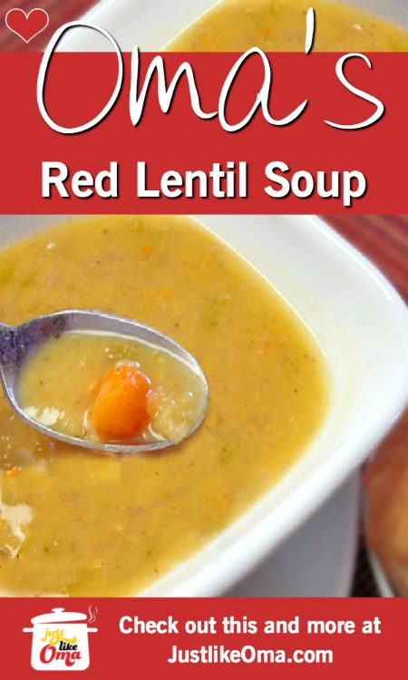 ❤️ Oma's Red Lentil Soup. Oh, so goooood! (& it's vegan!) https://www.quick-german-recipes.com/vegan-lentil-soup.html #lentilsoup #germanrecipe #justlikeoma #vegan