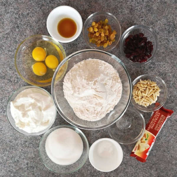 German Quark Stollen: assemble your ingredients #stollen #christmas #germanrecipes #justlikeoma https://www.quick-german-recipes.com/stollen-recipe.html