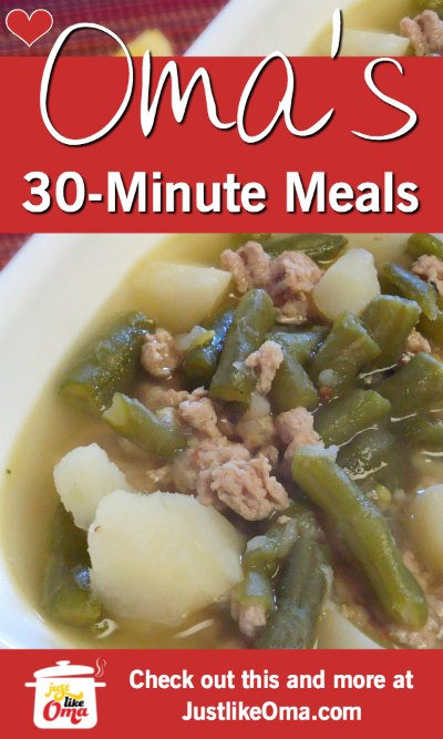 ❤️  Check out these 30-minute meals made just like Oma. https://www.quick-german-recipes.com/30-minute-meal-recipes.html #germanmeals #justlikeom #quickmeals