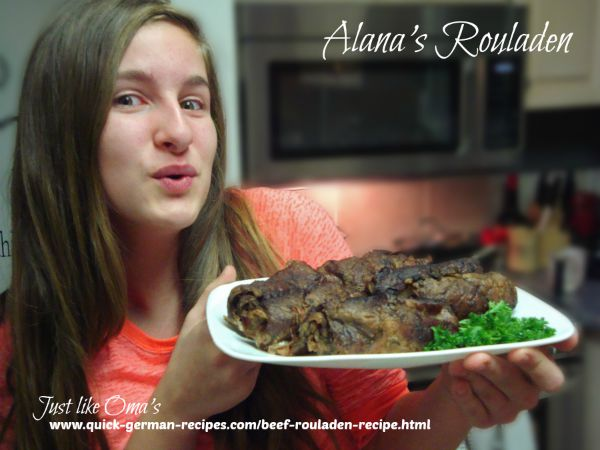 My eldest granddaughter, Alana, loves to make rouladen for her own birthday dinner party.