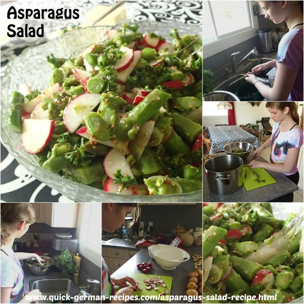 My granddaughter Lydia showing step by step how to make asparagus salad