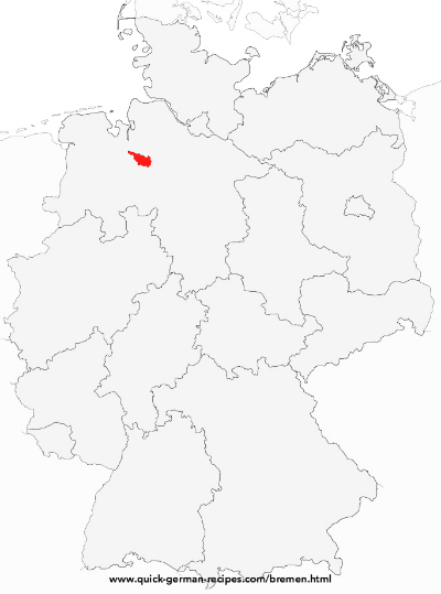 Map of Germany showing Bremen, the smallest federal state in Germany