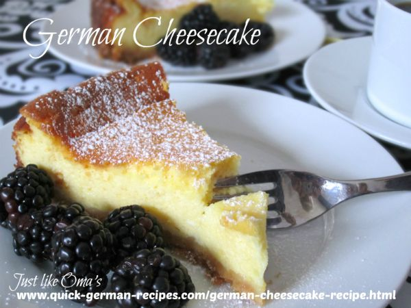 German Cheesecake with Homemade Quark served on a plate with blackberries