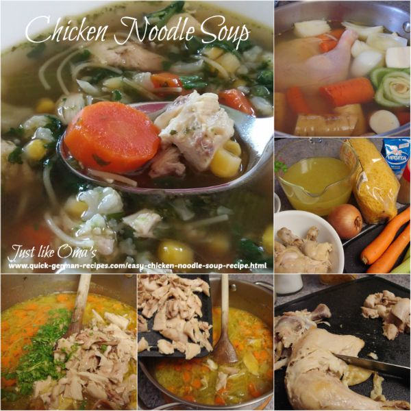 ❤️ Homemade Chicken Noodle Soup -- easily!  https://www.quick-german-recipes.com/easy-chicken-noodle-soup-recipe.html #chickensoup #justlikeoma #germanrecipe