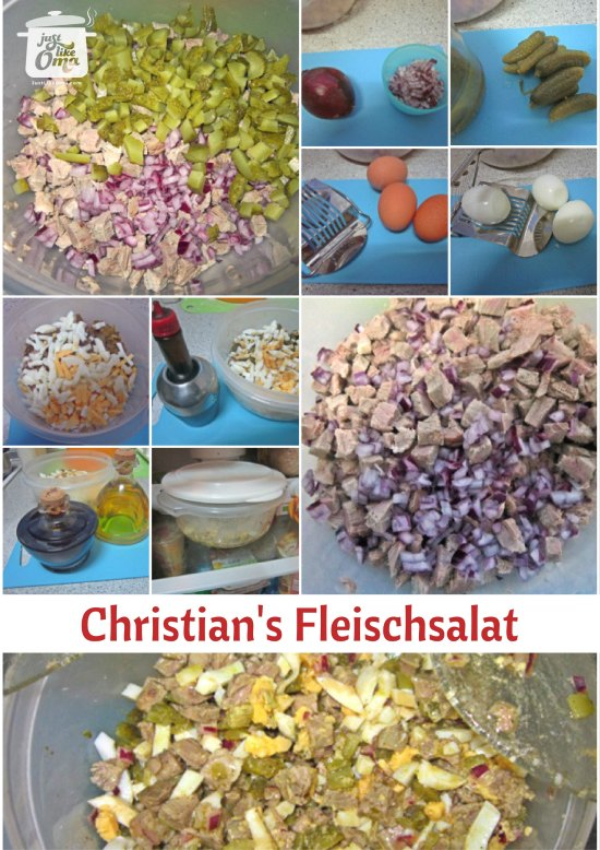As Christian's lovely wife makes this yummy German meat salad, he snaps some great pics along the way!