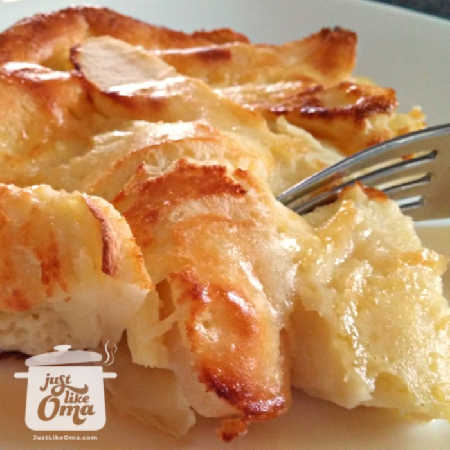 German Apple Pancake, made in oven & puffs up beautifully!