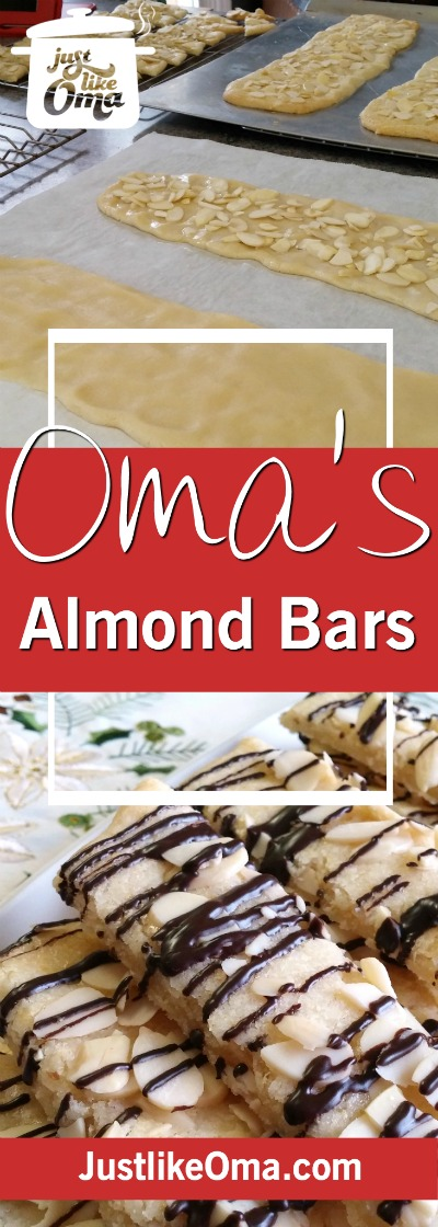 Almond bars with a German twist... quick to make and so goooood! Made just like Oma.