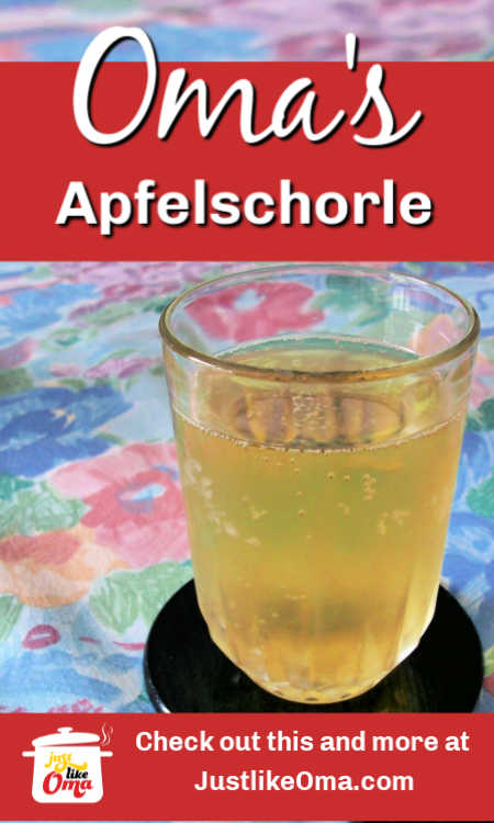 Apfelschorle ... the apple spritzer, the traditional drink in Germany.