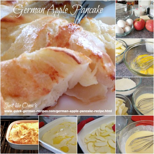 Collage showing how to make buttermilk puffed apple pancake