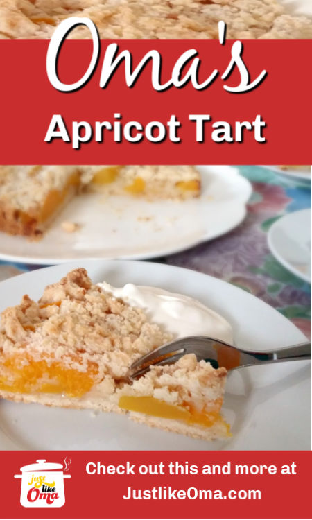 Here's a yummy way to enjoy a fruit tart. Covered with streusel and served with whipped cream