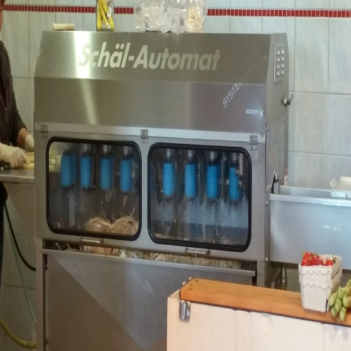 German asparagus farms often have asparagus peeling machines to quickly peel the white asparagus.