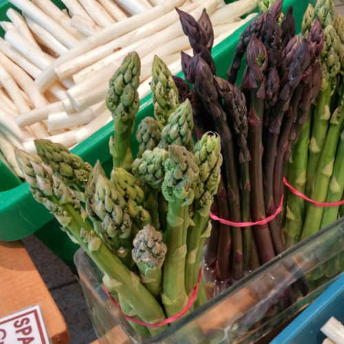 Asparagus, aka Spargel, sold in Germany comes in many colors, white, green and purple.