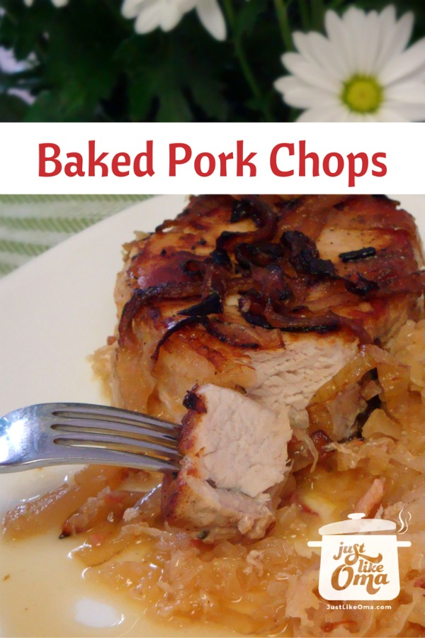 plate with baked pork chop and sauerkraut German dinner