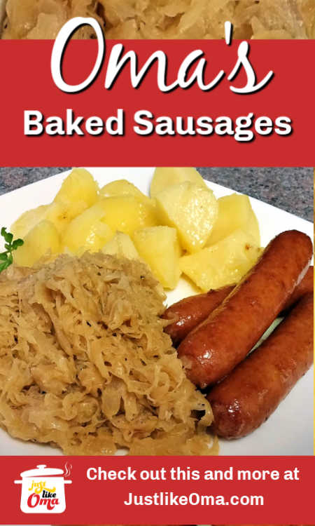 Oma's easy baked sausages! Yes, there are so many ways to make sausages, and for me, this is one of the BEST!