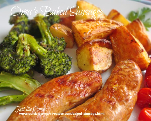 Traditional German meats: Baked Sausages