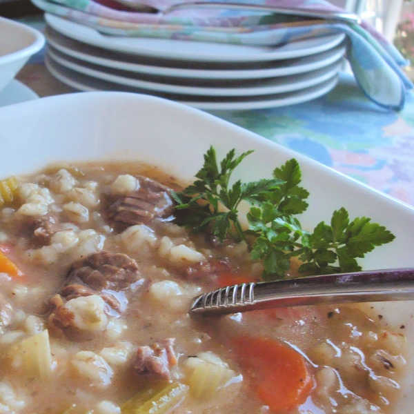 Yummy easy beef barley soup, German-style, made just like Oma.
