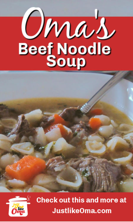❤️ Make Oma's beef noodle soup. A great comfort food that tastes wonderful all year.