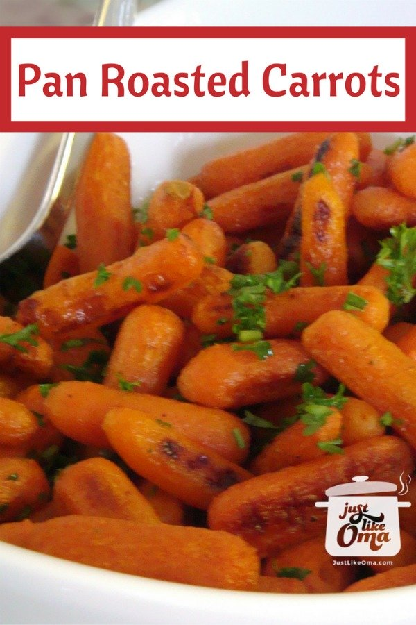 Bowl of pan roasted baby carrots
