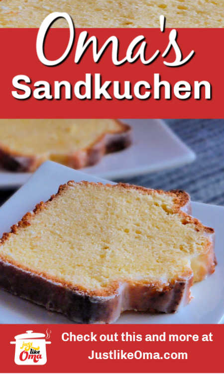 This is the best pound cake recipe that is actually just like my Muttis' Sandkuchen. So good and so easy.